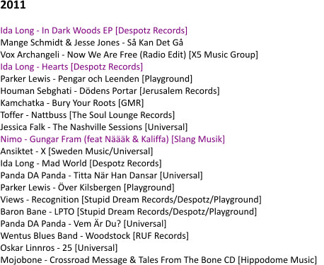 2011  Ida Long - In Dark Woods EP [Despotz Records]    Mange Schmidt & Jesse Jones - Så Kan Det Gå    Vox Archangeli - Now We Are Free (Radio Edit) [X5 Music Group]    Ida Long - Hearts [Despotz Records]    Parker Lewis - Pengar och Leenden [Playground]    Houman Sebghati - Dödens Portar [Jerusalem Records]    Kamchatka - Bury Your Roots [GMR]    Toffer - Nattbuss [The Soul Lounge Records]    Jessica Falk - The Nashville Sessions [Universal]    Nimo - Gungar Fram (feat Näääk & Kaliffa) [Slang Musik]    Ansiktet - X [Sweden Music/Universal]    Ida Long - Mad World [Despotz Records]    Panda DA Panda - Titta När Han Dansar [Universal]    Parker Lewis - Över Kilsbergen [Playground]    Views - Recognition [Stupid Dream Records/Despotz/Playground]    Baron Bane - LPTO [Stupid Dream Records/Despotz/Playground]    Panda DA Panda - Vem Är Du? [Universal]    Wentus Blues Band - Woodstock [RUF Records]    Oskar Linnros - 25 [Universal]    Mojobone - Crossroad Message & Tales From The Bone CD [Hippodome Music]